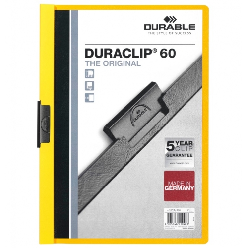 DURABLE 220904. Dossiers con clip Duraclip 60 A4. Capacidad 60 hojas Amarillo