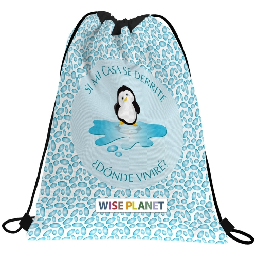 GRAFOPLAS 37610554. Mochila saco con cuerdas Planet Pingüino