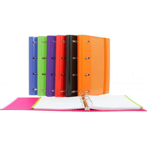 GRAFOPLÁS 88112035. Pack 2 carpetas de anillas forradas CarpeBook Multiline A5. Color violeta