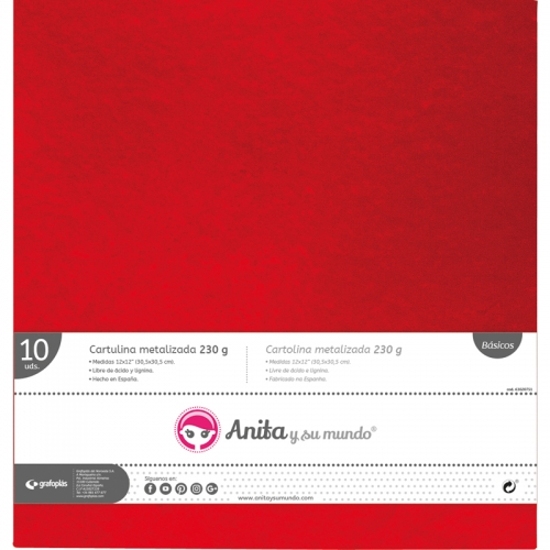 GRAFOPLAS 37111551. Pack 10 cartulinas metal de 30,5 x 30,5 - 250 gr. Color rojo