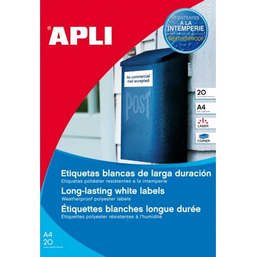 APLI 1226. Blister 20 hojas A4 etiquetas de poliéster blancas (64,6 X 33,8 mm.)