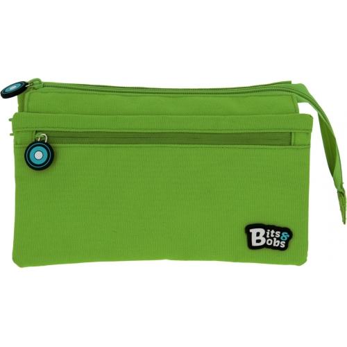 GRAFOPLAS 37543320. Estuche escolar portatodo cuádruple Bits & Bobs verde
