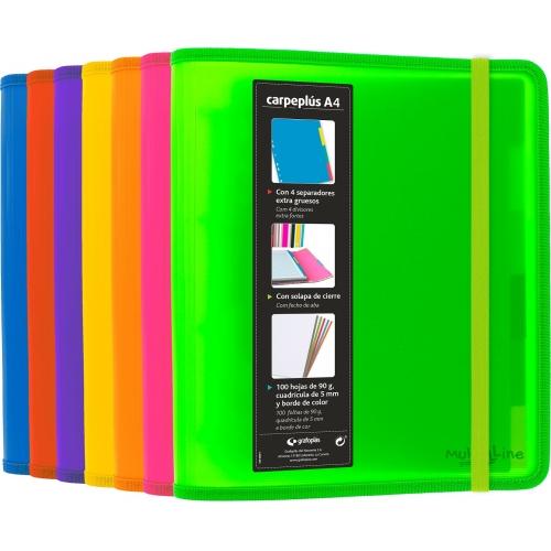 GRAFOPLÁS 88200054. Pack 2 carpetas de polipropileno 4 anillas CarpePlús Multiline. Color fucsia