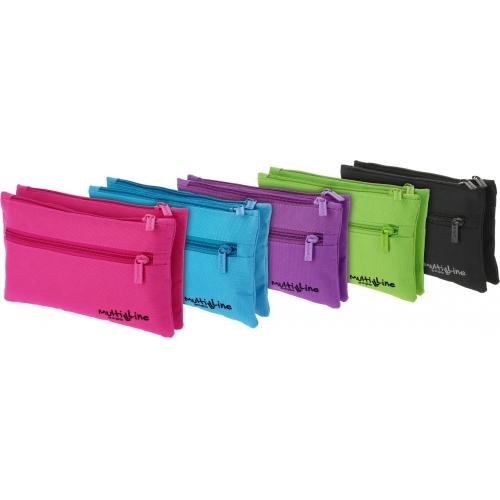 GRAFOPLAS 37541935. Estuche escolar portatodo doble plano Multiline violeta