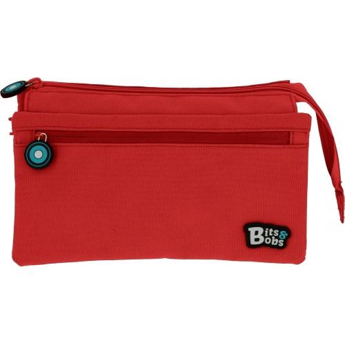 GRAFOPLAS 37543351. Estuche escolar portatodo cuádruple Bits & Bobs rojo