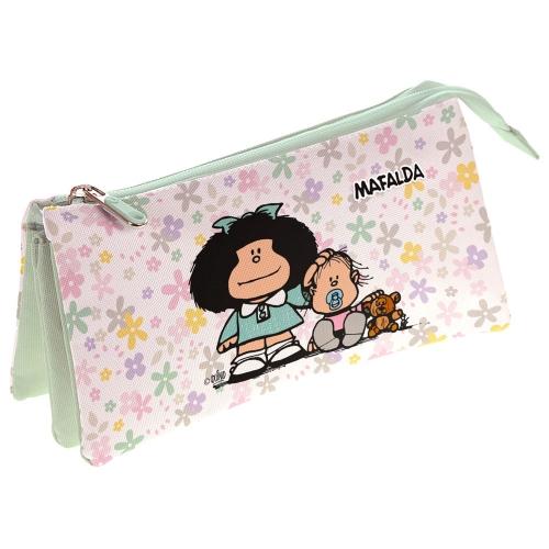 GRAFOPLAS 37540657. Estuche escolar portatodo triple Mafalda Flores