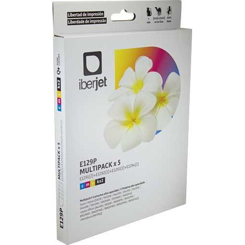 Iberjet E129P. Pack 5 cartuchos de tinta compatibles, reemplaza a Epson (T1291, T1292, T1293, T1294).