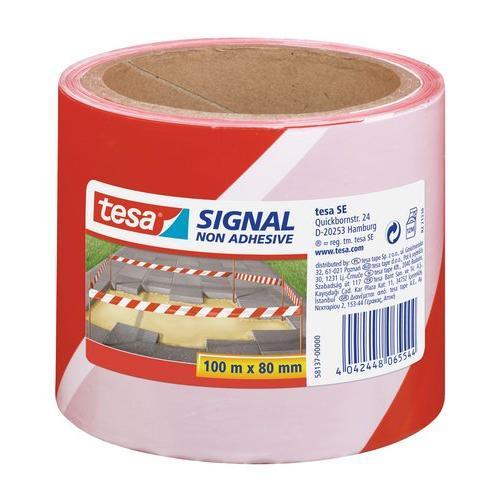 TESA Cinta de balizaje no adhesiva (100m x 80 mm). Rojo / blanco - 227225