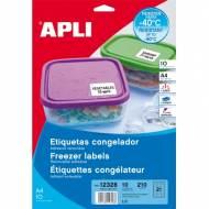 APLI 12328. 10 hojas A4 etiquetas para congelador ( 63,5 X 38,1 mm.)