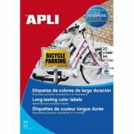 APLI 12877. Blister 20 hojas A4 etiquetas amarillas de poliéster (210,0 X 297,0 mm.)