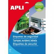 APLI 11272. Blister 10 hojas A4 etiquetas de seguridad (45,7 X 21,2 mm.)