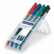STAEDTLER 318 WP4. Estuche 4 marcadores permanentes Lumocolor con punta fina. Trazo 0.6 mm. Colores surtidos