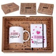 Caja regalo Taza + Libreta Mensaje -Te quiero Mamá - CLM-002