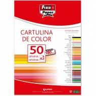 GRAFOPLAS 11120356. Pack 50 cartulinas Fixo paper A3 de 180  gr. Color rojo navidad