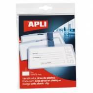 APLI 11739. Bolsa 5 identificadores con pinza de plástico (100 x 72 mm)