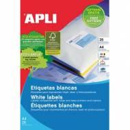 APLI 1998. Blister de 25 hojas A4 de etiquetas blancas (99,1 X 38,1 mm.)