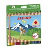 ALPINO AL000129. Estuche de 24 lápices de colores triangulares