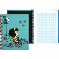 GRAFOPLÁS 16502639. Cuaderno tapa dura A4, 100 hojas, Mafalda Bici