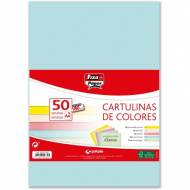 GRAFOPLAS 00001493. Pack 50 cartulinas Fixo paper A4 de 180  gr. Colores claros