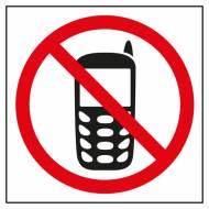 APLI 00848. 10 etiquetas de señalización PROHIBIDO USAR TELÉFONO MOVIL (114 x 114 mm.)