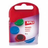 APLI 12673. 8 imanes circulares de colores (ø 20 mm.)
