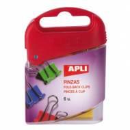 APLI 12675. 6 pinzas abatibles de colores (19 mm.)