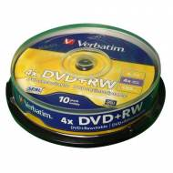 VERBATIM DVD+RW 4x Advanced SERL 4,7GB Spindle 10 uds - 43488