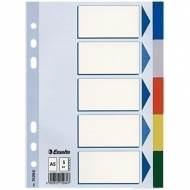 ESSELTE 15264. 5 Separadores de plástico multitaladro A5 - 5 colores