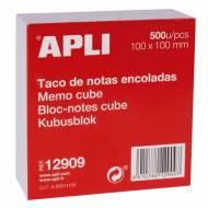 APLI 12909. Taco de notas encoladas 500 hojas (100 x 100 mm.)
