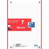 Oxford 400106623 Recambio A4 School 100 hojas 90 g, 1 color en banda (Rojo)