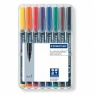 STAEDTLER 313 WP8. Estuche 8 marcadores permanentes Lumocolor con punta superfina. Trazo 0.4 mm. Colores surtidos