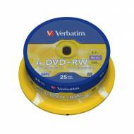 VERBATIM DVD+RW 4x Advanced SERL 4,7GB Spindle 25 uds - 43489