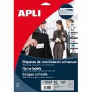 APLI 12252. Etiquetas adhesivas de identificación imprimibles (63,5 x 29,6 mm)
