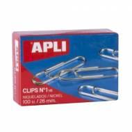 APLI 11710. Caja de clips niquelados nº 1 - 1/2 (26 mm.)
