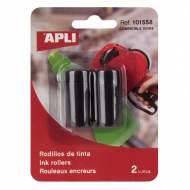 APLI 101558. 2 recambios tinta etiquetadora 1 línea y 8 caracteres (para 101418)