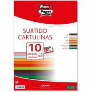GRAFOPLAS 11080199. Pack 10 cartulinas Fixo paper de 24 x 32 cm. de 180  gr. Colores surtidos