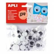 APLI 13058. Ojos móviles negros para manualidades (75 und.)