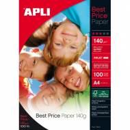 APLI 11804. Best Price. Papel foto brillo, paquete 100 hojas A4, 140 g.