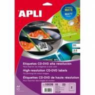 APLI 10039. Blister 10 hojas A4 etiquetas CD-DVD MEGA (ø 117 mm.)