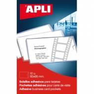 APLI 02580. Bolsillos adhesivos con solapa para tarjetas (95 x 60 mm)