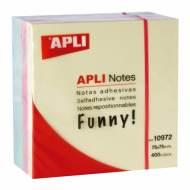 APLI 10972. Notas adhesivas Funny Cubo pastel 400 hojas (75 x 75 mm)