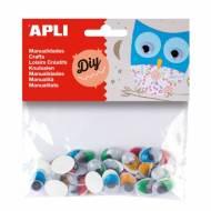 APLI 13059. Ojos móviles adhesivos para manualidades (40 und.)