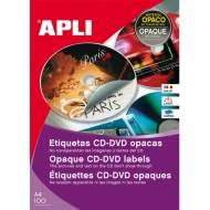 APLI 10166. 100 hojas A4 etiquetas CD-DVD dorso opaco (ø 114 mm.)