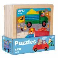 APLI 15182. 9 puzles encajables de madera Transportes