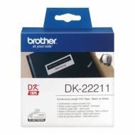 BROTHER DK22211 Cinta  DK, película plástica (29 mm x 15 m). Negro sobre blanco