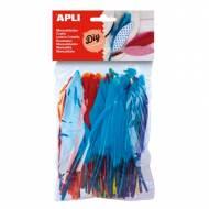 APLI 13060. Plumas indio manualidades de colores y tamaños surtidos (100 und.)