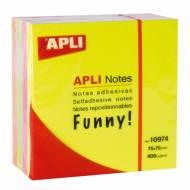 APLI 10974. Notas adhesivas Funny Cubo flúor 400 hojas (75 x 75 mm)