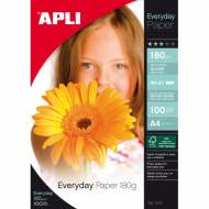 APLI 11475. Everyday Papel foto brillo, paquete 100 hojas A4, 180 g.