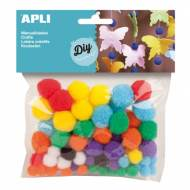 APLI 13061. Pompones para manualidades de colores y tamaños surtidos (78 und.)