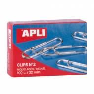 APLI 11711. Caja de clips niquelados nº 2 (32 mm.)